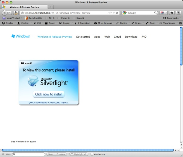 Microsoft Requiring Silverlight to view Windows 8 demo